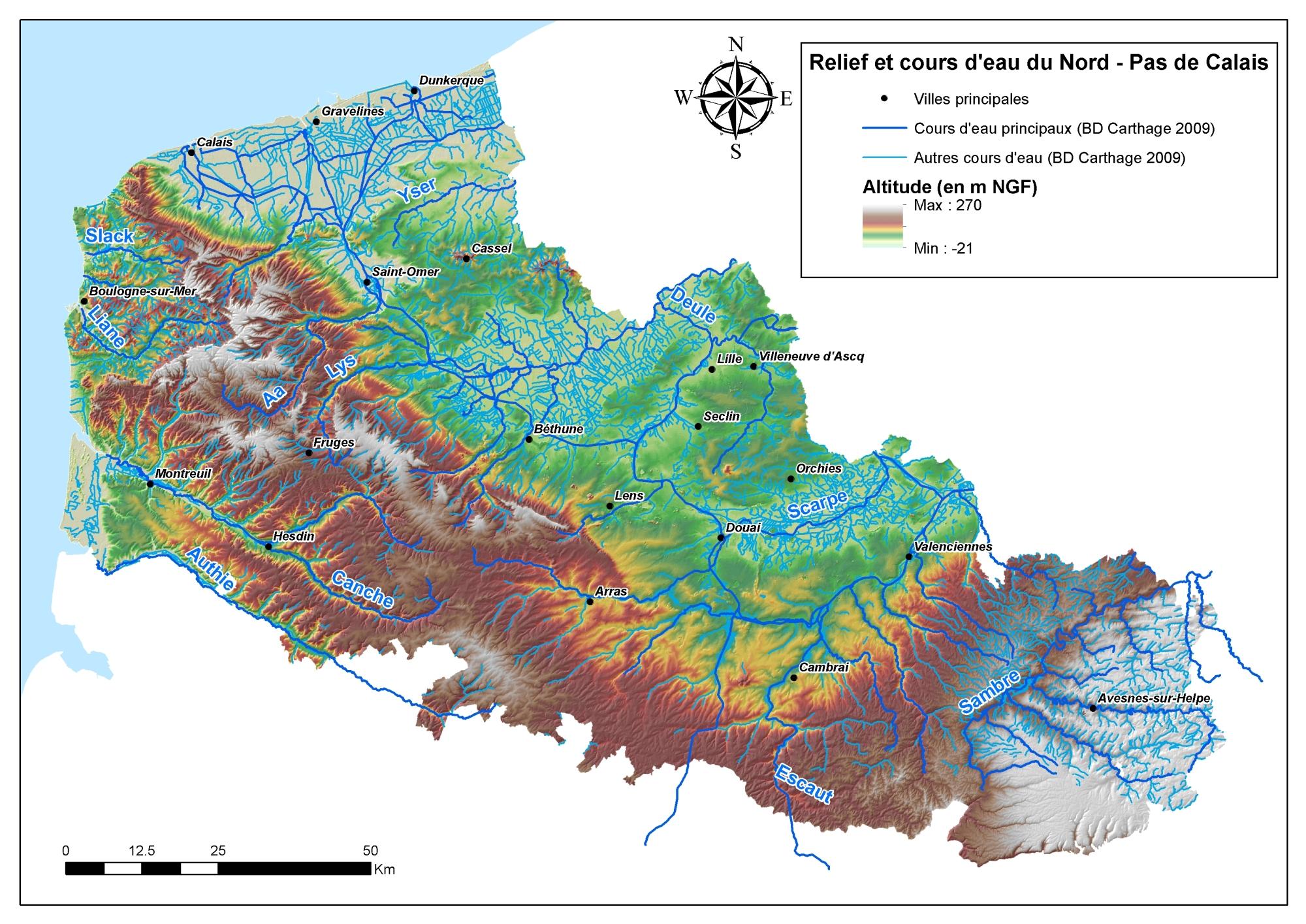Carte des reliefs et cours d'eau de la région nord-pas de calais